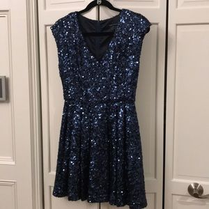 French Connection blue sequined cocktail dress